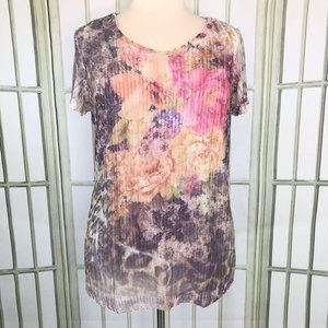 Brittany Black Tunic Top Floral Crochet Knit Large
